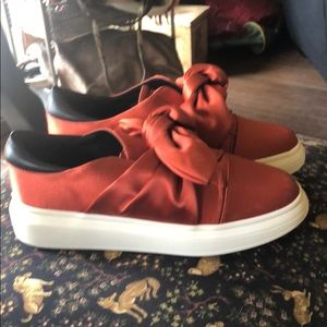 Orange Satin Sneakers with Bow 38 (7.5)